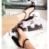 Sandały Czarne Na Grubym Obcasie 8300