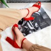 Sandały Czerwone Na Grubym Obcasie 8285