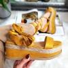 Sandały Żółte Wiązane Na Kostce 8313