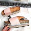 Klapki Różowe Zamszowe Kolorowa Platforma 8259