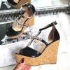 Sandały Czarne Lakierowane w Duże Cyrkonie 8281