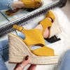 Sandały Zamszowe Żółte Zabudowane 8304