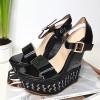 Sandały Czarny Lakierowany Marmurek 8260