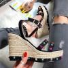 Sandały Espadryle Na Koturnie Kamienie 8257