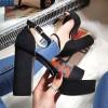 Sandały Czarne Zamszowe Paski Słupek 8263