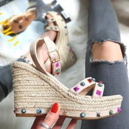 Sandały Espadryle Na Koturnie Kamienie 8275