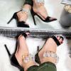 Sandały Czarny Lakier Silikownowy Pasek 7740