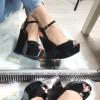 Sandały Czarne Klasyczne Na Koturnie 8295