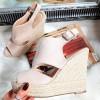 Sandały Zamszowe Beżowe Zabudowane 8310