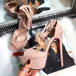 Sandały Różowe Zamszowe Sexy 8268