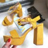 Sandały Żółte Zamszowe Na Słupku 8320