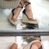 Sandały Zamszowe Na Koturnie Beżowo Czarne 8332