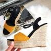 Sandały Zamszowe Na Koturnie Żółto Czarne 8344