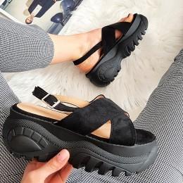 Sandały Czarne Modna Sportowa Podeszwa 8335