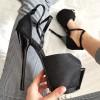 Sandały Czarny Lakier w Brokat Mega Sexy 8365