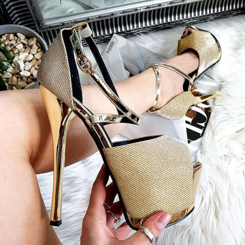 Sandały Złoty Lakier w Brokat Mega Sexy 8350