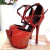 Sandały Czerwony Lakier w Brokat Mega Sexy 8373