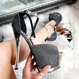 Sandały Srebrny Lakier w Brokat Mega Sexy 8339