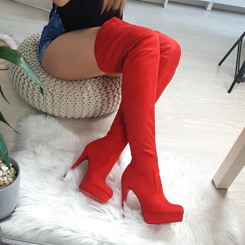 Muszkieterki Zamszowe Czerwone Wysokie 8338