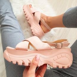 Sandały Różowe Modna Sportowa Podeszwa 8371