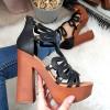 Sandały Czarne Gladiatorki Obcas Dzwonek 8368