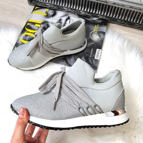 nie - Trampki Designerksie Szare Brokatowe Adidasy 8380