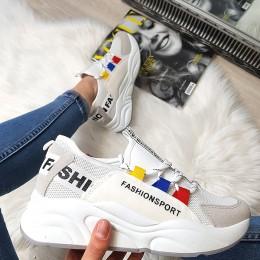 Trampki Białe Adidasy z Szarym Noskiem 8389