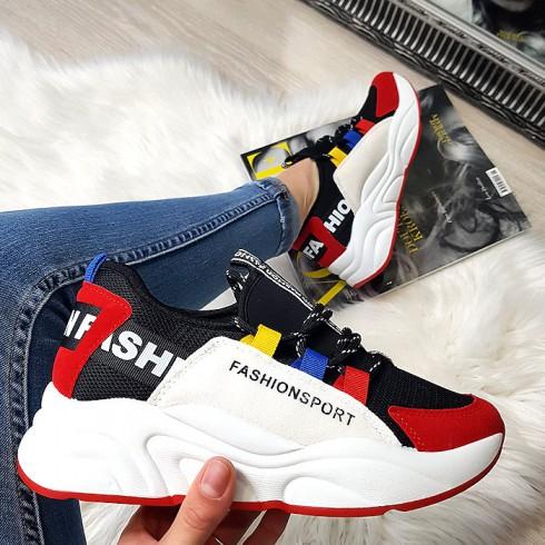 Tramki Czarne Adidasy z Czerwonym Noskiem 8384