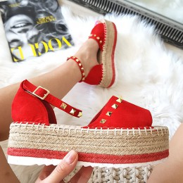 Sandały Czerwone Espadryle w Złote Dżety 8394