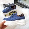 Trampki Niebieskie Adidasy Panterkowa Wstawka 8393