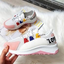 Trampki Biało Różowe Adidasy w Napisy 8396