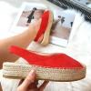 Espadryle Czerwone Zamszowe Odkryta Pięta 8400