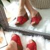 Klapki Czerwone Ażurowe na Koturnie 8416