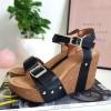 Sandały Czarne na Koturnie 8420