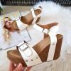 Sandały Białe na Koturnie 8422