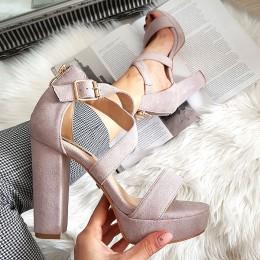 Sandały 2 Przeplatane Lawendowe Paski Zamsz 8355
