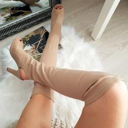 Muszkieterki Beżowy Strecz Open Toe i Open Heel 8351