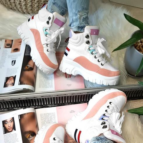 nie - Sneakersy Biało Różowe w Metaliczne Wstawki 8484