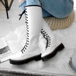 Kozaki Białe Długie Martensy 8481