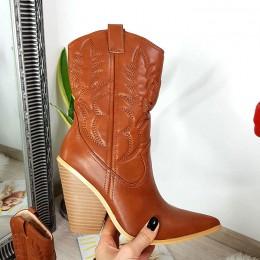 Krótkie Kozaki Rude Wciągane Kowbojki 8503