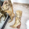 Kozaki Złote Wężowe Kowbojki 8493