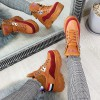 Sneakersy Camelowo Bordowe w Metaliczne Wstawki 8662