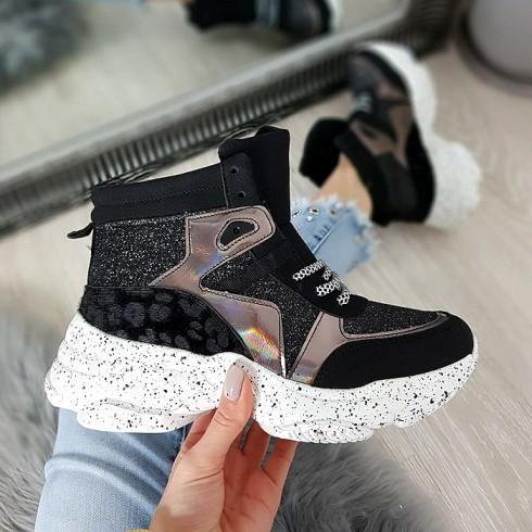Trampki Czarne Sneakersy Nakrapiana Podeszwa 8680