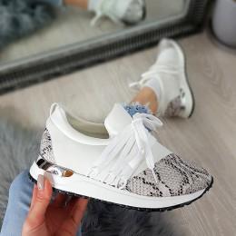 Trampki Designerksie Ecru w Wężowe Adidasy 8684