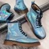 Botki Niebieskie Holograficzne Martensy Kauczukowa Podeszwa 8676