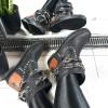 Botki Czarne Wciagane Saszki w Łańcuchy 8717