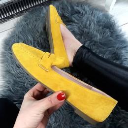 Balerinki Żółte Zamszowe Mokasyny 8702