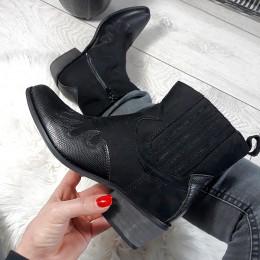 Botki Czarne Krótkie Kowbojki - Wyszywany Nosek 8705