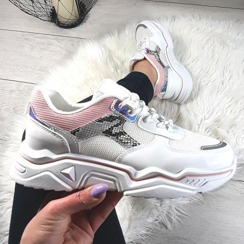 Trampki Eko+Siatka Biało Różowe Adidasy 8726