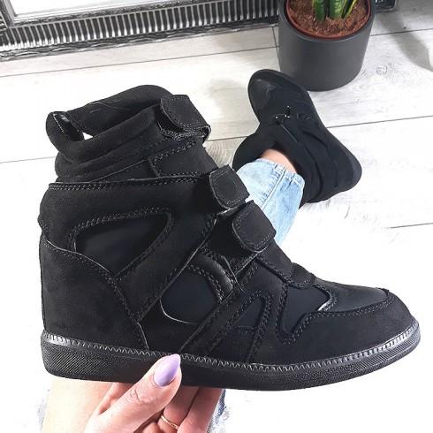 sneakersy Buu.pl Sneakersy Czarne Sznurowane Dwa Rzepy Czarna Guma